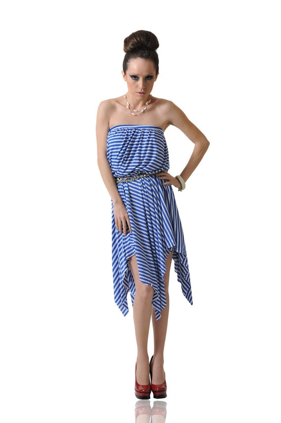 Women's Blue and White Stripe Strapless Bubble Top Dress-Size Medium