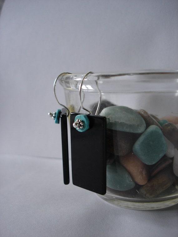 Black Onyx meet Turquoise handmade earrings modern rectangle sterling silver. Made in Maine. OOAK under 25