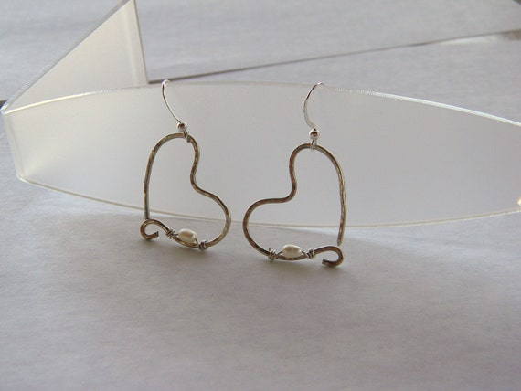 Hammered Heart Mixed Metal silver wire wrapped white freshwater pearl handmade earrings made in Maine