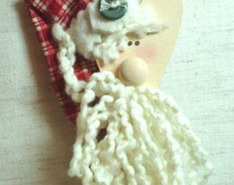 Jolly Wood Santa Pin