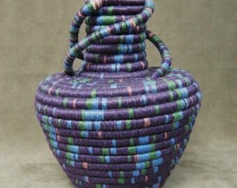 Purple Spiral Coiled Linen Vase