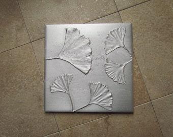 Ginkgo Biloba Leaf, 6 x 6 inch Botanical Tile, Recycled Cast Aluminum, Made to Order