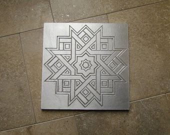 Radiant Star Diatom Tile, 6 x 6 inch, Recycled Cast Aluminum, Made to Order