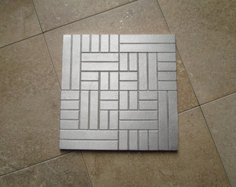 Brick Tile, 6 x 6 inch Abstract Tile, Recycled Cast Aluminum