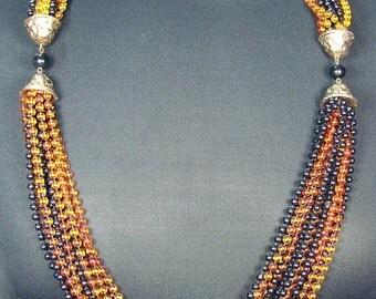 Vintage 1960s Many Strand Tiny Gold Black Fall Autumn Colored Beads Retro Necklace Avant Glamorous ATCTTEAM TNTEAM