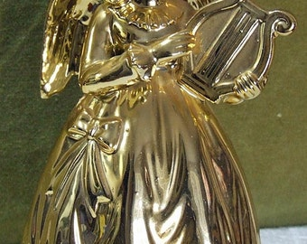 Vintage Christmas Golden Angel with Harp Music Box Spinning Figurine made in Japan Play Silent Night Commadore