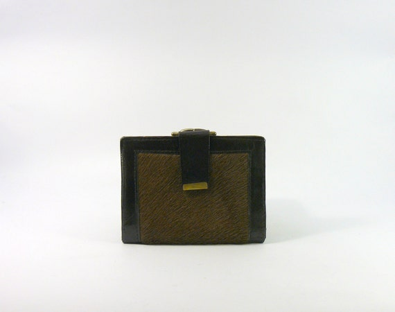 Vintage 1970s deadstock brown pony hair leather wallet. horsehide fur red purse