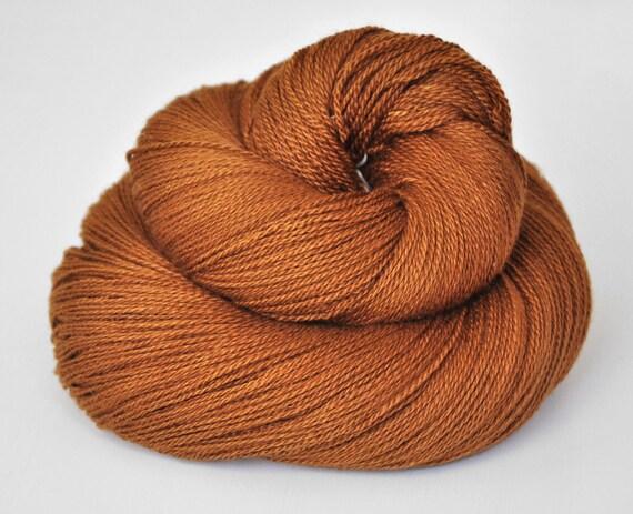 Lost leather pouch OOAK - Silk/Merino Yarn Lace weight