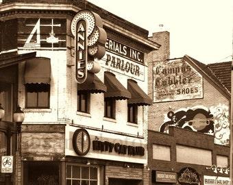 Dinky Town, U of M, Annies Parlour,  Minneapolis photo art, nostalgia, sepia photo, Minnesota art, office art, black and white, campus art