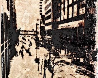 Distressed, Streets of Minneapolis,  photo art, wall art, home decor, office art, corporate art, Minnesota,  textured art,  Minnesota photo