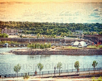 St. Paul, Minnesota,  Mississippi River, digital Art Photo, urban, water art, city art,  wall art, home decor, Harriet Island,  band shell