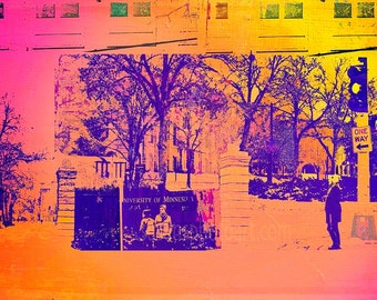 U of M Campus Colorful digital Collage, photo for wall art, home decor, Minnesota art, office art, Minneapolis photo