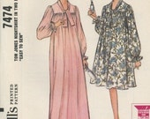 McCalls 7474 Vintage Sewing Pattern 1960s Lingerie Nightshirt Size Small