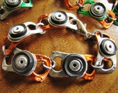 Orange recycled metal pull tab Bracelet with black rubber and rivets
