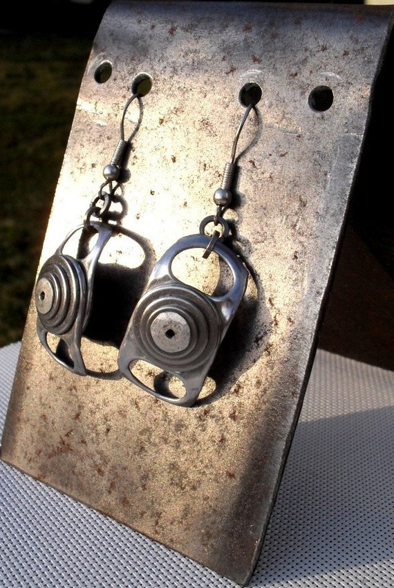 Recycled ring pull tab dangle Earrings