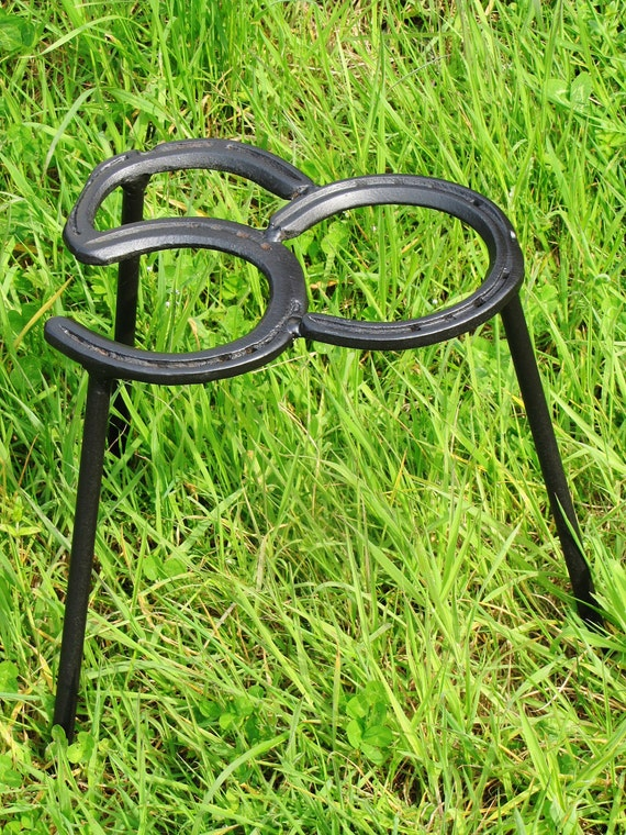 No.50, Welded Recycled Metal Horseshoe Trivet, for cooking on an outdoor camp fire, ideal gift for a 50 year old, fathers day gift