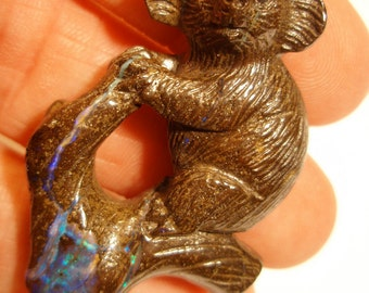 Boulder Opal Bead Koala Bear Australian Pendant 3D Hand Carved Australia Blue Purple Brown Eucalyptus Tree Wire Wrapping Beading Stringing