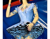 Art Print -Ringling Brothers Circus Girl Ballerina Blue with Flag Tattoos, Baraboo, Wisconsin - Sandy Dyas Photography - Vintage - Retro art