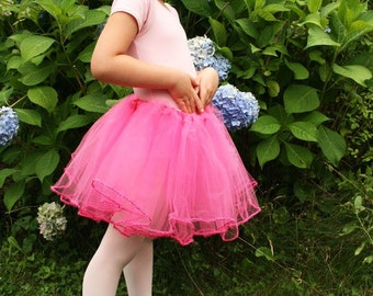 Pretty in Pink trimmed dance tutu skirt Child teen Grow with Me flower princess tea party petticoat --Sistersenchanted