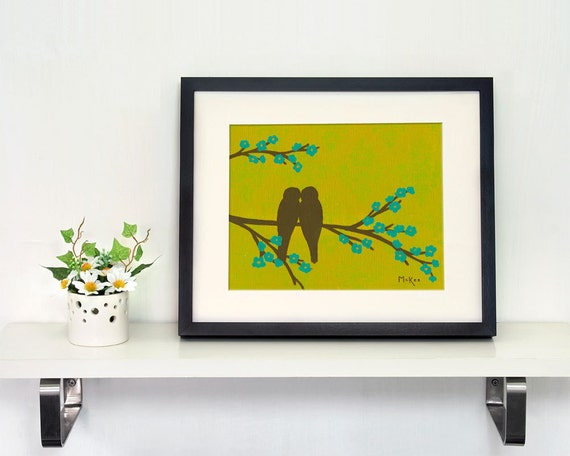Love Birds Art Print, Green and Turquoise, Damask, Bird Silhouette, 11 x 14 inches
