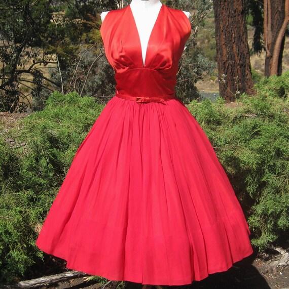Vintage 50s Dress Cherry Bomb RED Chiffon & Satin Full Skirt Shelf Bust Halter Dream Dress