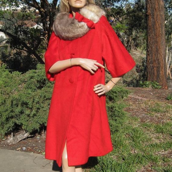 Stunning Vintage 50s Designer LILLI ANN Cherry Red French Wool Coat Jacket Fox Fur Collar