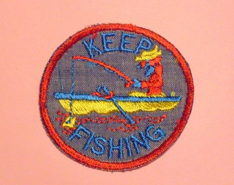 Keep Fishing Red Border Fisherman Water Fish Boat Round Sew On Retro 1970's New Vintage Patch Applique