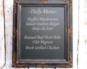 "MAGNETIC FRAMED CHALKBOARDS For Sale Old World Style 31""x27"" Magnetic Memo Board Home Decor Distressed Patina Black Framed Kitchen"