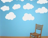 10 Large Fluffy Clouds Vinyl Wall Decals