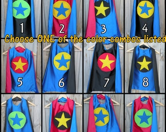 Childrens Star cape-Double sided Star SUPERHERO CAPE-Choose from 12 options