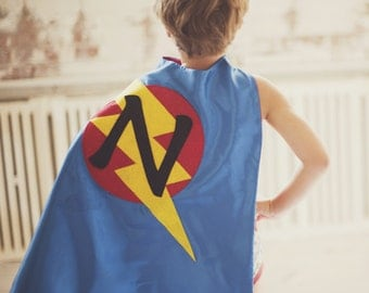 Free mask sale - FAST Delivery - Lots of Color choices - Kids Superhero Cape Personalized double sided cape - Any Initial