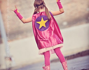 ONE Childrens double sided Girls Super Star capes - Easter Gift - Girl Superhero Cape - Hero birthday party