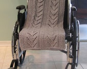 READY TO SHIP:Grey, Afghan, WheelChair, special needs , hand knit, grey lap blanket, long and wide , made for a wheelchair bound individual