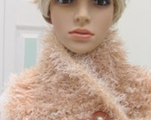 BEIGE COWL, A lovely beige and ivory fun fur,  neck scarf, hand knitted in a triple weight yarn, with a  vintage wood button