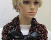 ETSY SALE- SCARF, Ribbon  collar in shades of brown, beige and black, hand knitted,  tied with a satin black ribbon bow