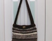 READY TO SHIP : Shoulder/purse, handknitted in multi shades of brown yarn accented with satin ribbon,in a gold motif