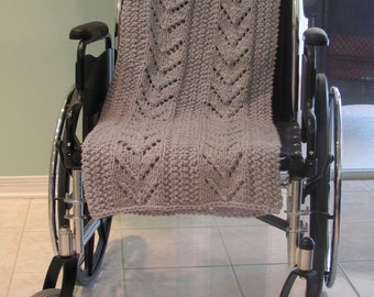 SPECIAL NEEDS AFGHAN:Grey, Afghan, WheelChair, hand knit, grey lap blanket, long and wide , made for a wheelchair bound individual