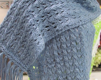 SCARF, DUSTY BLUE, hand knitted, acrylic,  worsted weight, extra long length with fringe