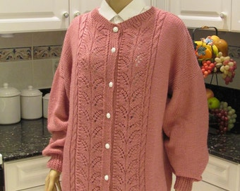 KNITTED SWEATER/COAT,Rose color, extra large, hand knitted  in a soft and silky    yarn made for the full sized woman