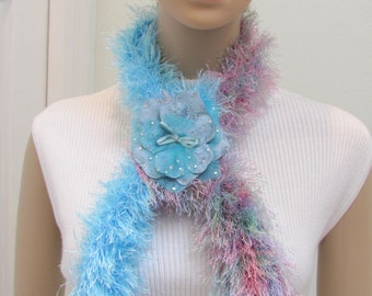 SALE ITEM -Scarf/boa,handknitted,in shades of  turquoise and multi pastel colors of fun fur yarn, with silk and velvet ,rhinestone floral