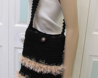 BLACK KNIT HANDBAG/Purse-Woman's, hand knitted, with beige, brown fun fur trim, fully lined in a floral print
