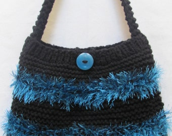 KNIT, BLACK Handbag/Purse, hand knitted in double  yarn with aquamarine funfur trim,fully lined