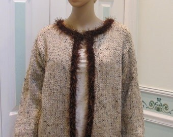 LADIES HAND KNITTED Sweater/Jacket,  tweed, hand knitted  in a heather beige yarn with chocolate brown eyelash trim