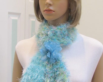 READY TO SHIP: Elegant Boa/ Scarf-Aqua /multi pastel scarf,  hand knitted, with silk floral looped holder, knitted in a fuzzy yarn