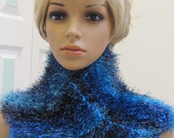 FUN FUR, Scarf/cowl, fuzzy yarn in multi shades of sea blue