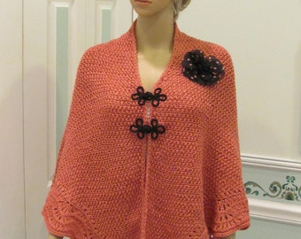 ROSE CAPE/SHAWL, original designer style, hand knitted, with ruffled,open  lace edging, black frogs and silk flower