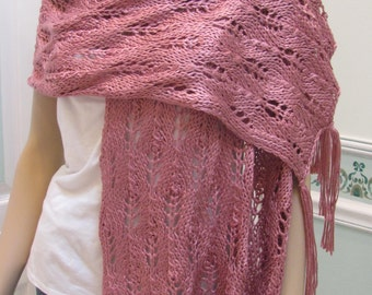 SALE:DESIGNER KNIT, Shawl/pashmina, plum wine, Elegant original design,  hand knitted in a soft, silky, light weight yarn,with a long fringe