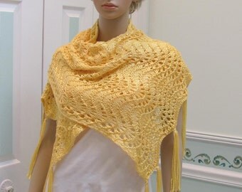 SHAWL,DESIGNER STYLE Knit, Yellow,Original design by 'Claire', made of a silky, light weight yarn in a lacey, open pattern stitch