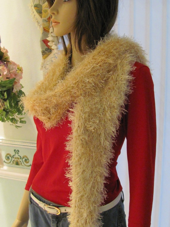 BOA/SCARF, BEIGE /Champagne, Two tone ,  knitted, 6x 66, extra long, in eyelash yarn and wool