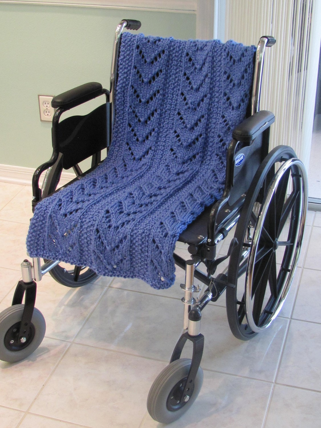 Afghan Knit Special Needs Lap Blanket Hand Knitted By